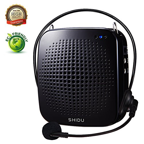 Portable Voice Amplifier 15W,SHIDU Personal Voice Amplifier with Wired Microphone Headset Rechargeable Amplifier Micorphone Speaker for Teachers,Coaches,Tour Guides,Outdoors,Elderly,Parkinsons by SHIDU