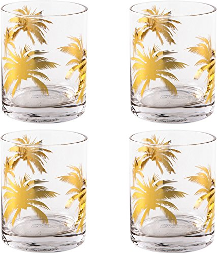 Gold Double Palm Trees - HC Classic Home Set of Four (4) Gold Palm Tree Wine Glass Double Old Fashion (12.5 ounces)