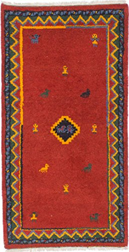 Ecarpetgallery Hand-knotted Indian Gabbeh Medallion 2' x 5' Red 100% Wool area rug - Antique Red Rectangle Rug