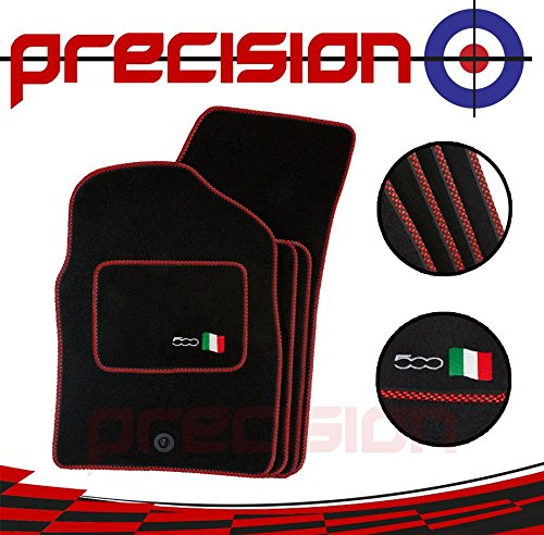 07-12 Precision Classic Black Carpet Car Mats with 500 Logo /& Red Check for Ḟiat 500