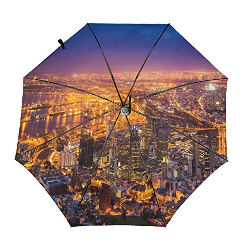(Automatic Open Close tri-fold Windproof Travel umbrella,Cape Town Panorama At Dawn South Africa Coastline Roads Architecture Twilight,InsidePrint)