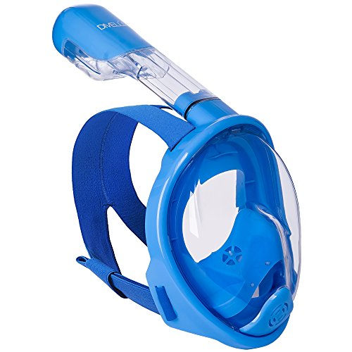 Bag Ventilation Mask Valve - DIVELUX Snorkel Mask - Original Full Face Snorkeling and Diving Mask with 180° Panoramic Viewing - Longer Ventilation Pipe, Watertight, Anti Fog & Anti Leak Technology, for Kids (Blue, XS)