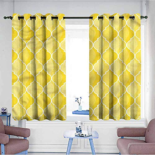 - VIVIDX Kids Curtains,Yellow,Ancient Moroccan Trellis,for Bedroom Grommet Drapes,W55x39L