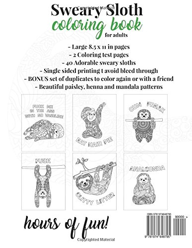 Sweary Sloth Coloring Book For Adults A Humorous Swear Word Adult