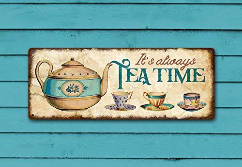 It's Always Tea Time Metal Sign, Vintage Teapot and Teacups Design for Kitchen or Dining Decor