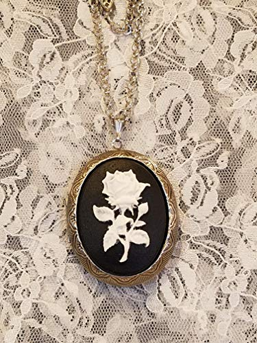 (Black and White Rose Cameo Locket Necklace Antiqued Silvertone)