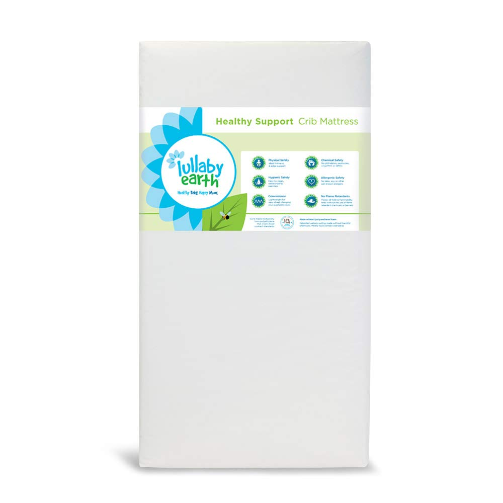 Lullaby Earth Non-Toxic Crib Mattress - Waterproof - Fits Standard Baby and Toddler Bed, White by Lullaby Earth