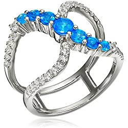 Sterling Silver Neon Apatite and Created White Sapphire Negative Space Ring, Size 7