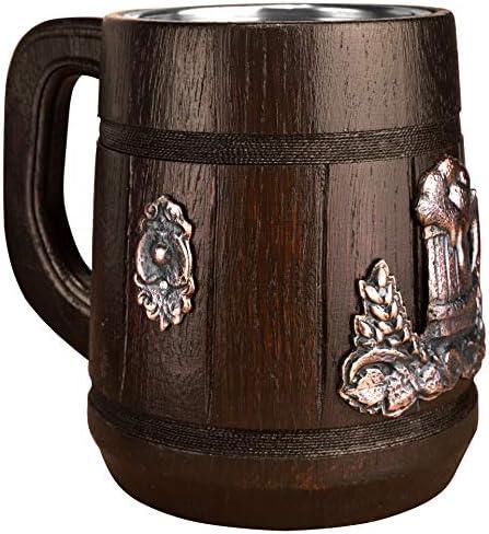 Tazas de Madera para Bebidas Caf/é Jarra de Cerveza Hoseten Cerveza Stein Wood Beer Mug Cup