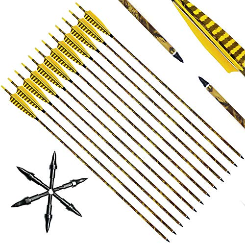 Narchery 31Inch Carbon Arrow Practice Hunting Arrows with 5