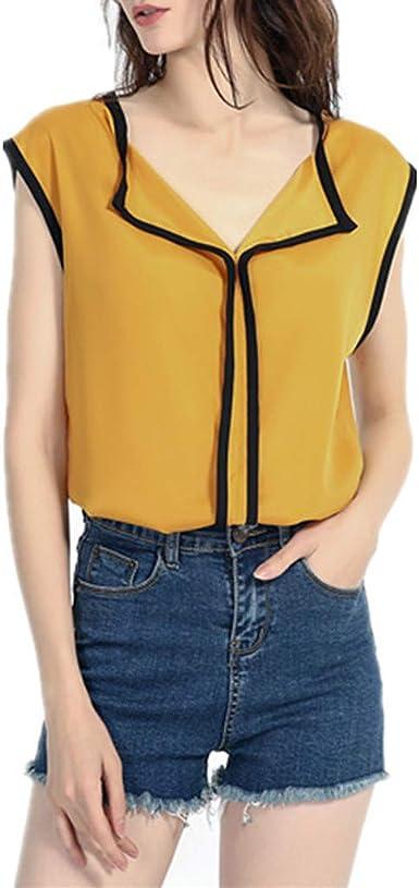 Camisa Mujer Cuello V Gasa Blusa Casual con Hombros Descubiertos Blusa Camisa de Verano sin Mangas Camisola Tops de Mujer Camisetas Mujer Manga Corta Algodón Rayas: Amazon.es: Ropa y accesorios