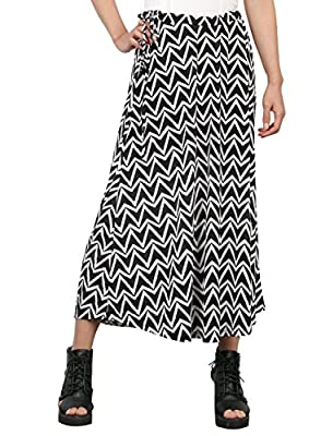 ililily Women Chevron-Stripe Palm Tree Floral Print Midi & Maxi Summer Skirt