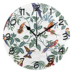 LORVIES Aviary Multi Pattern Wall Clock Silent Non Ticking Acrylic Decorative 10 Inch Round Clock for Home Office School