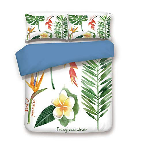 Duvet Cover Set Twin Size, Decorative 3 Piece Bedding Set with 2 Pillow Shams,Bird of Paradise Palm Leaf and Assorted Exotic Flowers Watercolor Decorative