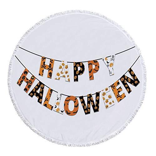 iPrint Thick Round Beach Towel Blanket,Halloween,Happy Halloween Banner Greetings Pumpkins Skull Cross Bones Bats Pennant Decorative,Orange Black White,Multi-Purpose Beach Throw