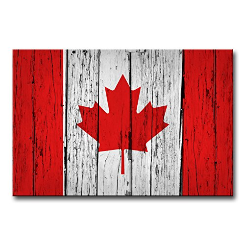 Modern Canvas Painting Wall Art The Picture For Home Decoration Canada Grunge Wood Background Canadian Flag On Aged Wooden Wall Country Symbol Print On Canvas Giclee Artwork For Wall - Hot Montreal Women