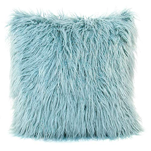 MHJY Faux Fur Pillow Case, Mongolian Fluffy Pillow Cover Soft Plush Throw Pillow Case Cushion Cover Deluxe Home Decor Bed Sofa Car Decorative Pillowcase(18 x 18 Inch) (Pillow Fur Blue)