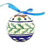 Polish Pottery 3½-inch Ornament Christmas Ball (Pine Boughs Theme) + Certificate of Authenticity