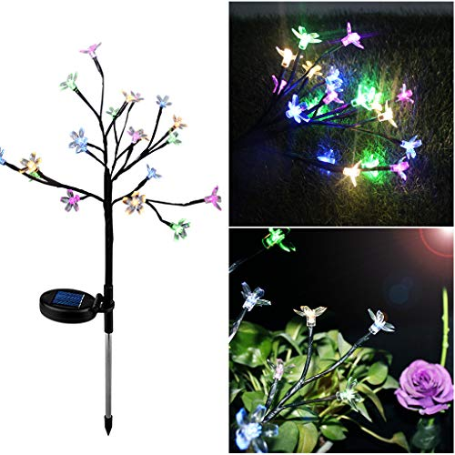 Pstars Solar Power Cherry Flower LED Light Outdoor Garden Yard Lawn Landscape Lamp Colorful Solar Energy Cherry Blossom Lights Outdoor Lawn Lights
