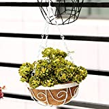Situmi Artificial Fake Flowers Circular Wall Flower Vases Iron Art Deco Flower Baskets Thai Daisy Home Accessories