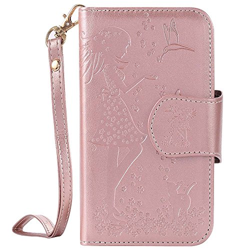 Samsung Galaxy S3 (i9300) Case, ESSTORE Luxury Embossing 9 Cards Slots Cash Holder Soft TPU Shell Wrist Strap Magnetic Snap Closure Flip Wallet Case for Galaxy S3 (i9300), Rose Gold