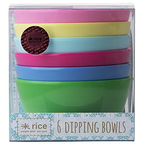 Rice 6/Melamine Dipping Bowls Assorted Classic Colors