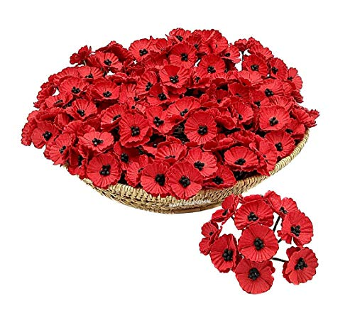 (NAVA CHIANGMAI 50 pcs Red Poppy Mulberry Paper Flower 20-25 mm Scrapbooking Wedding Doll House Supplies Card Artificial Mulberry Paper Flower Wedding Scrapbook Decorations, Greeting Cards)