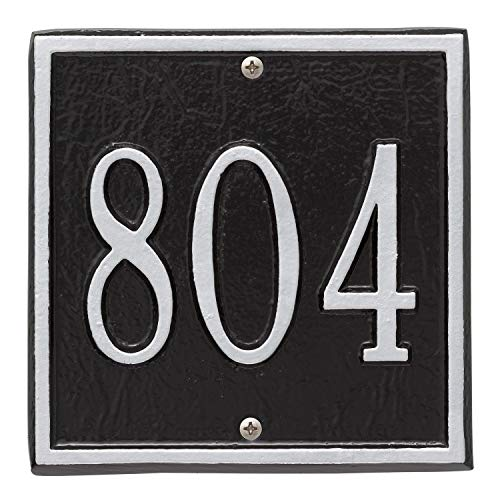(Whitehall Personalized Cast Metal Address Plaque - Square 6
