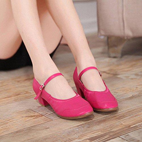 CHNHIRA Été Chaussure à Gros Talon de Danse Semelle Souple Chaussure de Danse de Salon Femme Rose yG9nj