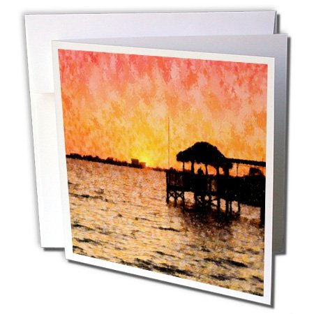 3dRose Image Of Florida River Sunset with Tiki Hut Impression Style - Greeting Cards, 6