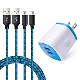 Wall Charger, AndHot 2.1A/5V Dual USB Charger Adapter Wall Plug Charging Block Cube with 2 Pack 6ft Nylon Braided Micro USB Cable Andriod Charger Cord Replacement for Samsung Galaxy S7 S6 J7 Android