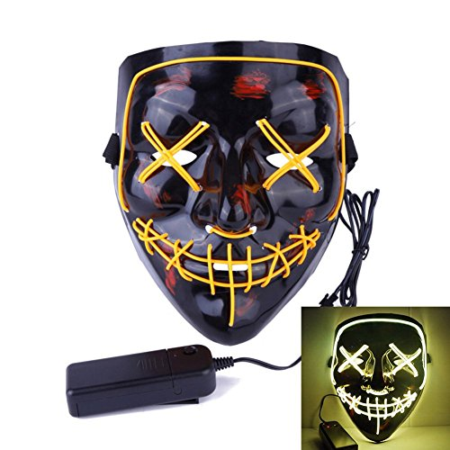Uecoy Light up LED Smiling Stitched Purge Mask for Halloween, Rave, Festivals, and Cosplay -