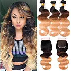 8A Ombre Brazilian Human Virgin Hair Body Wave 3 Bundles With 4×4 Free Part Lace Closure 3 Tone Color Blonde Hair 1b/4/27 100% Unprocessed Human Hair Bundles With Closure(22 24 26+18 Free)