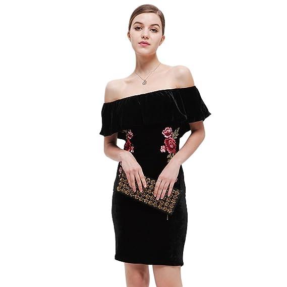 Rosegal Femme Robe épaule Dénudée élégante Bal soirée Robe Crayon Mariage  Manche Courte au Genou imprimée 07b2fb06ba8a