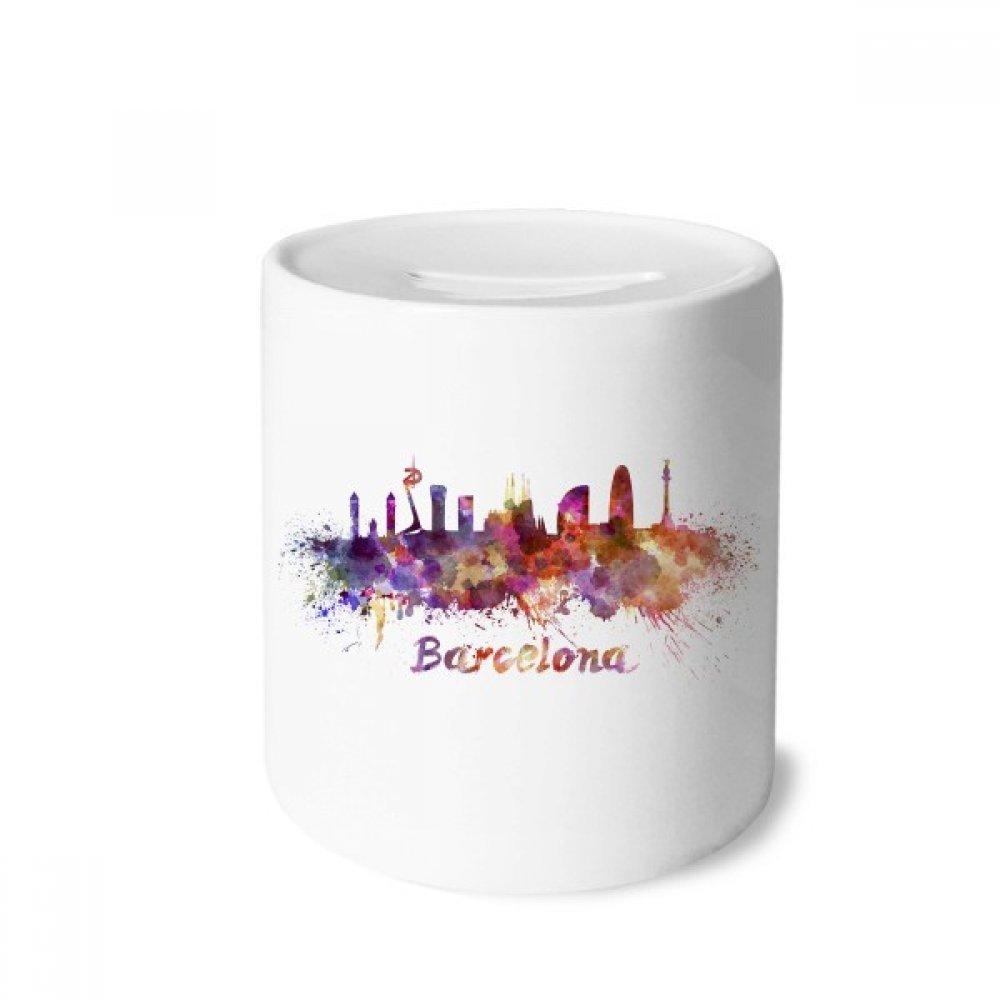 DIYthinker Barcelona, ??España Ciudad de la Acuarela Caja de Dinero de Las Cajas de ahorros de cerámica Adultos Moneda de la Caja para niños: Amazon.es: ...