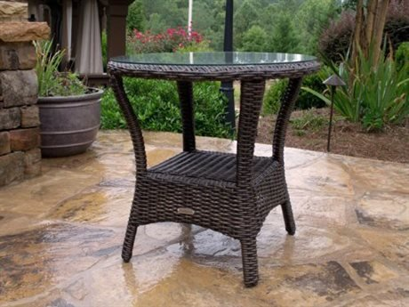Tortuga Outdoor Garden Patio Bayview Side Table - (Pecan Round Chair)