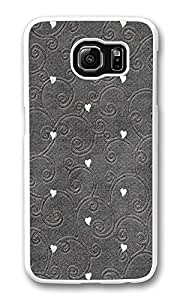 VUTTOO Rugged Samsung Galaxy S6 Edge Case, Hearts Pattern Embroidered Customize Hard Back Case for Samsung Galaxy S6 Edge PC White