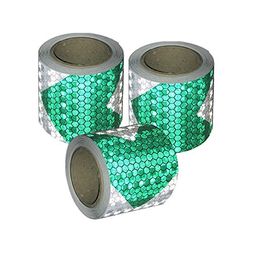 Viewm Reflective Tape 3 Rolls Safety Tapes Warning Strip Arrow Sticker 2 Inch x 3.28 Yard / 5cm x 3m Each Roll (Green and (Reflective Arrow)
