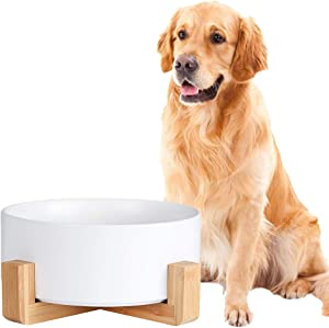 Ceramic Dog Bowl - Cat Dog Bowls with Non Slip Wood Stand - No Spill Pet Dish for Food Water Feeding Extra High Capacity (8 Cup-Suitable for Large Sized Dog)