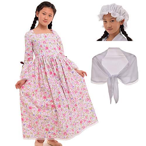 GRACEART Colonial Girls Dress Prairie Pioneer Costume 100% Cotton (Rose,Size-8) ()