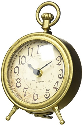 NIKKY HOME Metal Small Vintage Table Clock Decorative with Pocket Watch Shape Distressed Gold Finish -  - clocks, bedroom-decor, bedroom - 51e%2B3yEulVL -