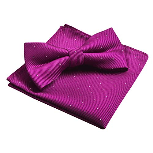 Men's Silver Dot Banded Bow Tie and Pocket Square Set, Magenta