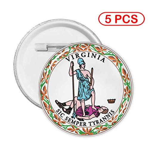 Virginia State Flag Round Badges Round Button Pin 5 Sets (Flag Of Virginia During The Civil War)