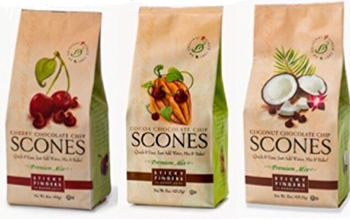 Sticky Fingers Bakeries ''Chocolate Chip'' Scone Mixes (Pack of 3) Cherry Chocolate Chip, Cocoa Chocolate Chip & Toasted Coconut Chocolate Chip by Sticky Fingers