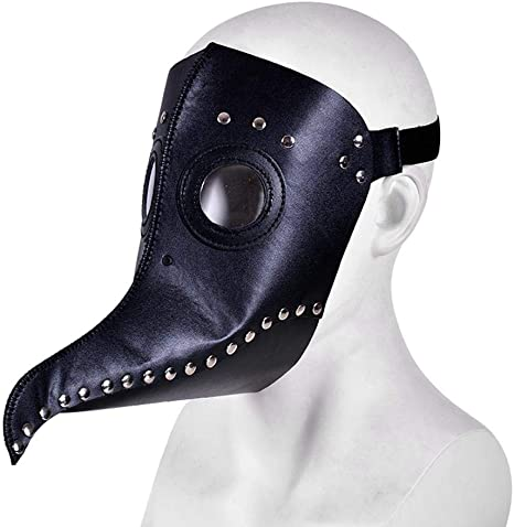 White Leather Steampunk Plague Doctor Bird Mask Halloween Gothic  Party Masks