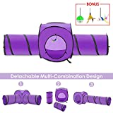 SlowTon Cat Tunnel Toy, Crackle Paper Collapsible Tube Three Connected Run Road Way Tunnel Catnip House with Fun Ball Puzzle Exercising and Playing for Kitten, Rabbits and Small Dogs (Purple)