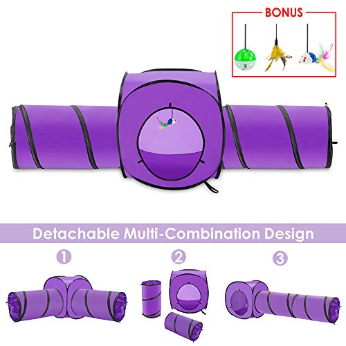SlowTon Cat Tunnel Toy, Crackle Paper Collapsible Tube Three Connected Run Road Way Tunnel Catnip House with Fun Ball Puzzle Exercising and Playing for Kitten, Rabbits and Small Dogs (Purple) (The All New Kitty Tube Generation 2)
