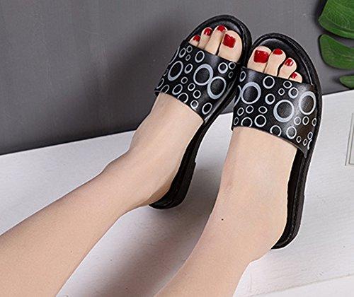 Motifs Noir Mules Bouche Ouverte Confortable Aisun Femme Twxq4E0S