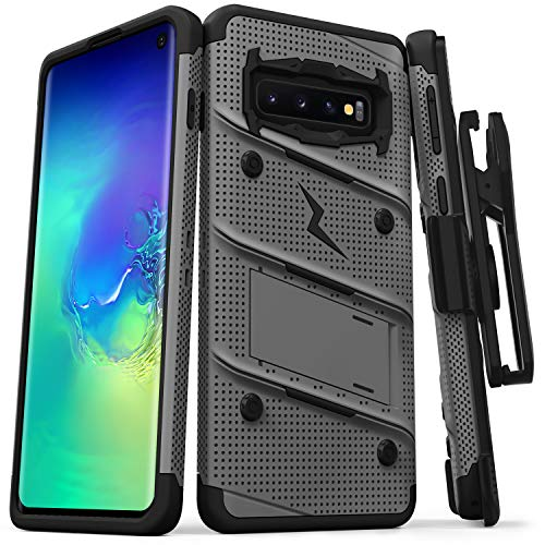 ZIZO Bolt Heavy-Duty Galaxy S10 Case | Military-Grade Drop Protection w/Kickstand Bundle Includes Belt Clip Holster + Lanyard Designed for 6.1 Samsung S 10 Metal Gray Black ()