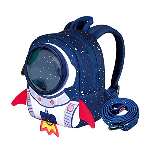 NANAHouse Kindergarten Toddlers Anti-Lost Lovely 3D Cartoon Rocket Lightweight Backpack for Children Pre School Baby (Small, Blue)